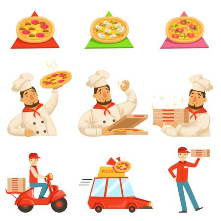 delievery: Pizza Delievery Fast Service Process Info Illustration. . Set Of Vector Illustrations In Simple Style Demonstrating Steps Of Food Home Delivery Service. Illustration