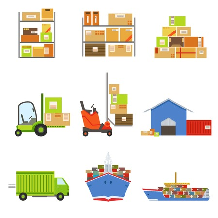 related: Logistics And Delivery Related Set Of Objects. Bright Color Simple Flat Illustrations Isolated On White Background.
