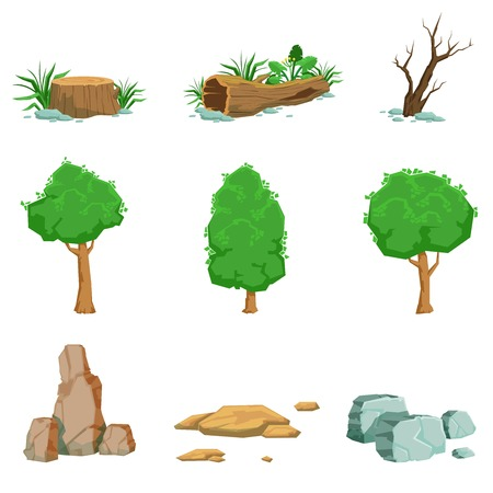 Natural Landscape Objects Set Of Detailed Icons. Isolated Drawings Of Plants And Rocks For Landscaping On White Background. Illustration