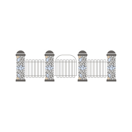 obstruction: Pillars And Grid Fence Design Element Template. Edging Creative Landscape Idea Icon On White Background.