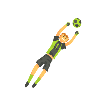 Goalkeeper Football Player Isolated Illustration. Flat Cartoon Character In Simple Childish Style Vector Drawing.