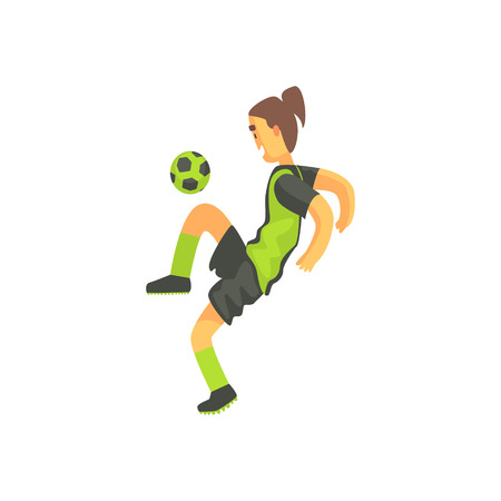 ponytail: Football Player With Ponytail Isolated Illustration. Flat Cartoon Character In Simple Childish Style Vector Drawing.