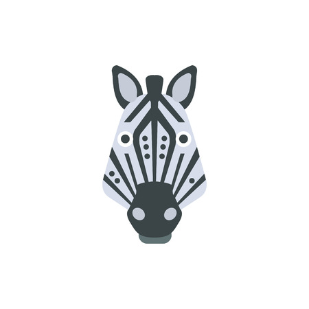 war paint: Zebra African Animals Stylized Geometric Head. Flat Colorful Vector Creative Design Icon Isolated On White Background