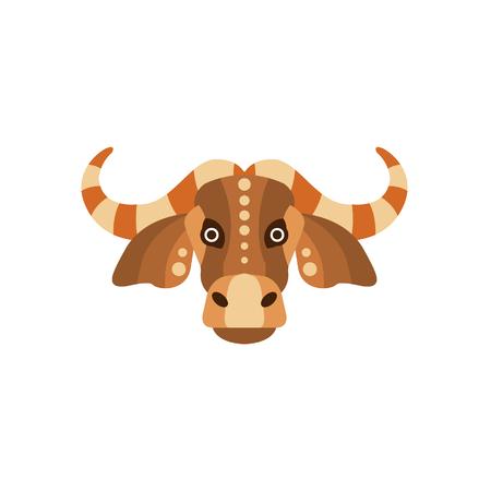 zebu dessin: Zébu Bull Animaux africains stylisées Head géométrique. Flat Colorful Icône vecteur Creative Design isolé sur fond blanc