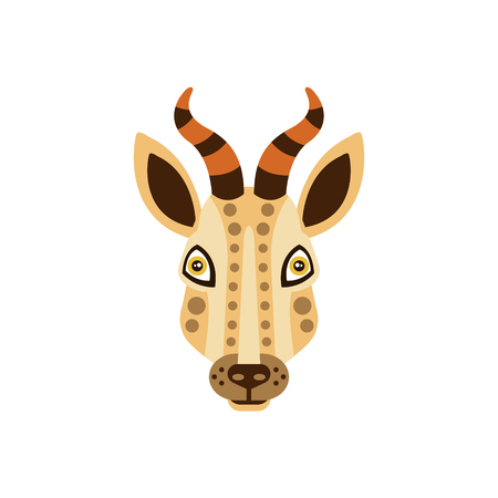 Gazelle African Animals Stylized Geometric Head. Flat Colorful Vector Creative Design Icon Isolated On White Background