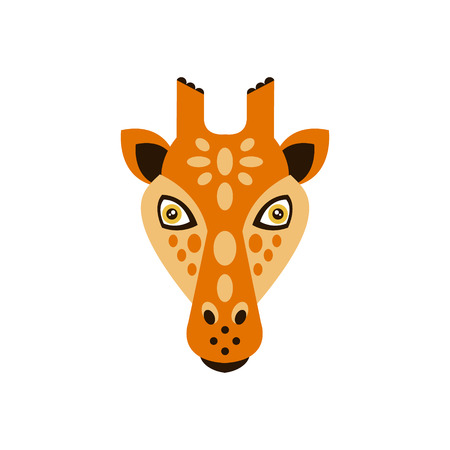 facing: Giraffe African Animals Stylized Geometric Head. Flat Colorful Vector Creative Design Icon Isolated On White Background Illustration