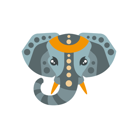 Elephant African Animals Stylized Geometric Head. Flat Colorful Vector Creative Design Icon Isolated On White Background