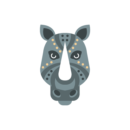 Rhinoceros African Animals Stylized Geometric Head. Flat Colorful Vector Creative Design Icon Isolated On White Background