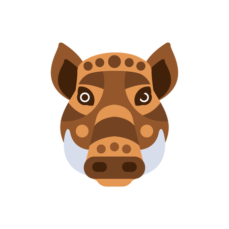 war paint: Wart Hog African Animals Stylized Geometric Head. Flat Colorful Vector Creative Design Icon Isolated On White Background Illustration