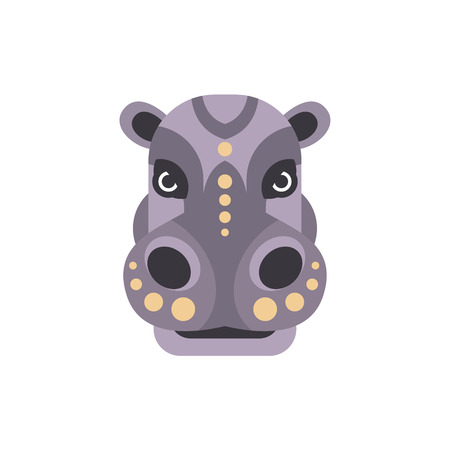 war paint: Hippo African Animals Stylized Geometric Head. Flat Colorful Vector Creative Design Icon Isolated On White Background