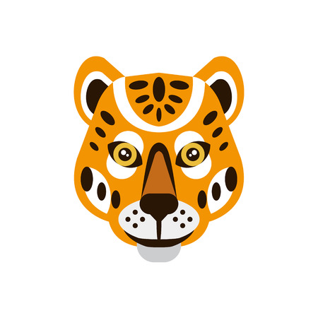 war paint: Cheetah African Animals Stylized Geometric Head. Flat Colorful Vector Creative Design Icon Isolated On White Background Illustration