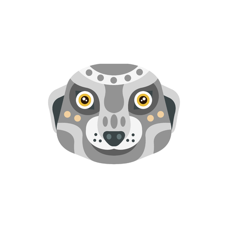 war paint: Meerkat African Animals Stylized Geometric Head. Flat Colorful Vector Creative Design Icon Isolated On White Background