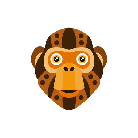 war paint: Chimpanzee African Animals Stylized Geometric Head. Flat Colorful Vector Creative Design Icon Isolated On White Background