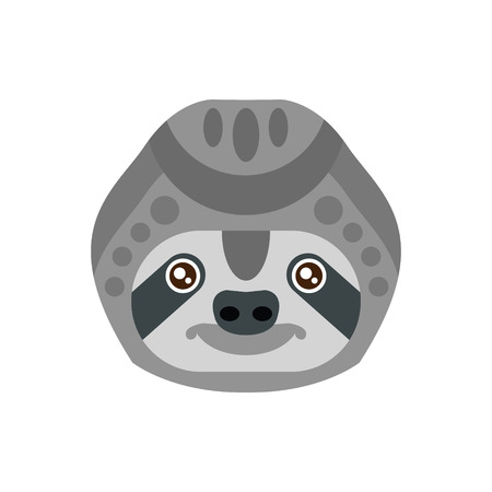 Sloth African Animals Stylized Geometric Head. Flat Colorful Vector Creative Design Icon Isolated On White Background Illustration