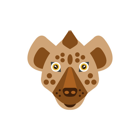 war paint: Hyena African Animals Stylized Geometric Head. Flat Colorful Vector Creative Design Icon Isolated On White Background