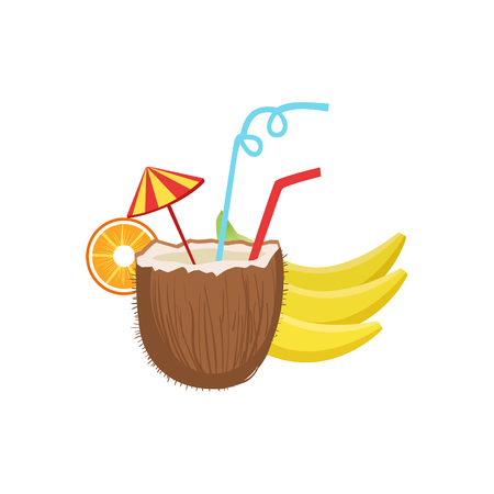 white bacground: Cocktail In Coconut Hawaiian Vacation Classic Symbol. Isolated Flat Vector Icon With Traditional Hawaiian Representation On White Bacground. Illustration
