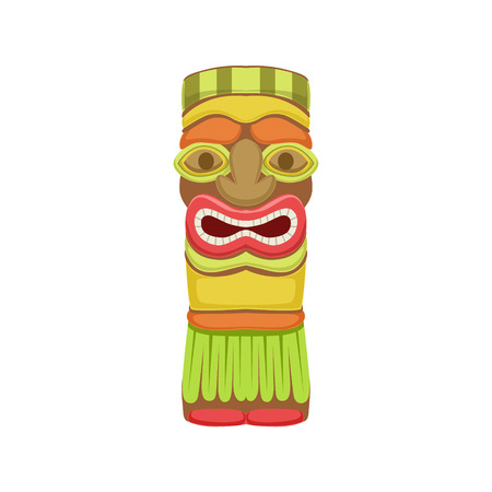 white bacground: Indian Totem Hawaiian Vacation Classic Symbol. Isolated Flat Vector Icon With Traditional Hawaiian Representation On White Bacground. Illustration
