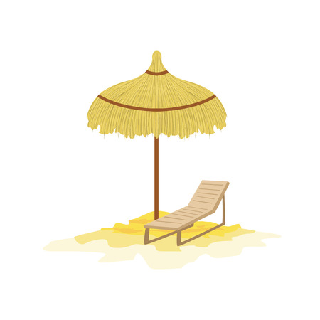 white bacground: Umbrella And Sunbed Hawaiian Vacation Classic Symbol. Isolated Flat Vector Icon With Traditional Hawaiian Representation On White Bacground.