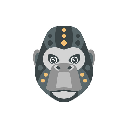 war paint: Gorilla African Animals Stylized Geometric Head. Flat Colorful Vector Creative Design Icon Isolated On White Background Illustration