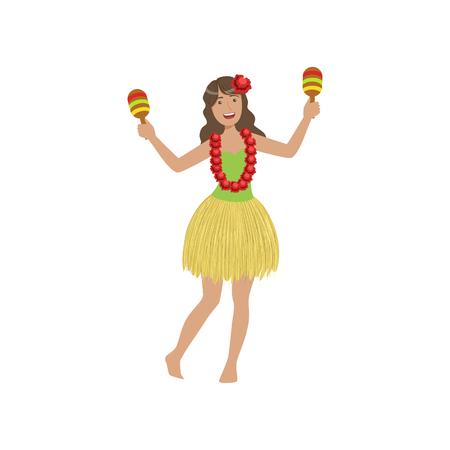 white bacground: Girl Playing Maracas Hawaiian Vacation Classic Symbol. Isolated Flat Vector Icon With Traditional Hawaiian Representation On White Bacground. Illustration