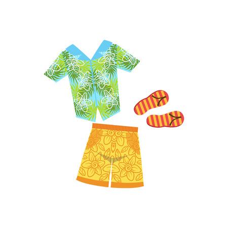white bacground: Shirt, Swimshorts And Flip-Flops Hawaiian Vacation Classic Symbol. Isolated Flat Vector Icon With Traditional Hawaiian Representation On White Bacground. Illustration
