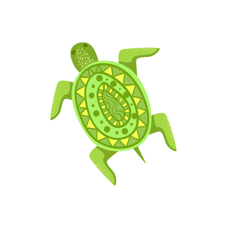 white bacground: Painted Turtle Hawaiian Vacation Classic Symbol. Isolated Flat Vector Icon With Traditional Hawaiian Representation On White Bacground. Illustration