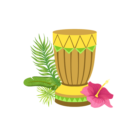 white bacground: Craft Drum Hawaiian Vacation Classic Symbol. Isolated Flat Vector Icon With Traditional Hawaiian Representation On White Bacground.