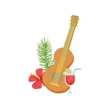 white bacground: Guitar Hawaiian Vacation Classic Symbol. Isolated Flat Vector Icon With Traditional Hawaiian Representation On White Bacground.