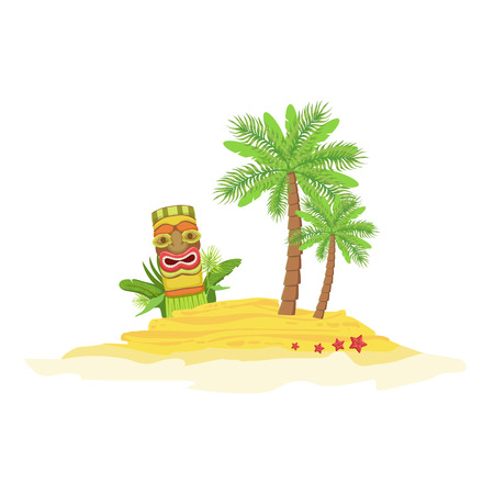 white bacground: Beach Hawaiian Vacation Classic Symbol. Isolated Flat Vector Icon With Traditional Hawaiian Representation On White Bacground.