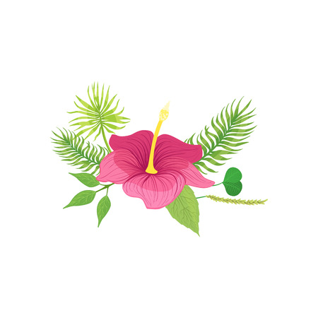 white bacground: Tropical Flower And Leafs Hawaiian Vacation Classic Symbol. Isolated Flat Vector Icon With Traditional Hawaiian Representation On White Bacground.