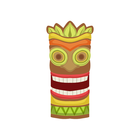 white bacground: Smiling Totem Hawaiian Vacation Classic Symbol. Isolated Flat Vector Icon With Traditional Hawaiian Representation On White Bacground. Illustration