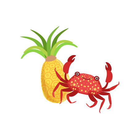 white bacground: Crab And Pineapple Hawaiian Vacation Classic Symbol. Isolated Flat Vector Icon With Traditional Hawaiian Representation On White Bacground. Illustration