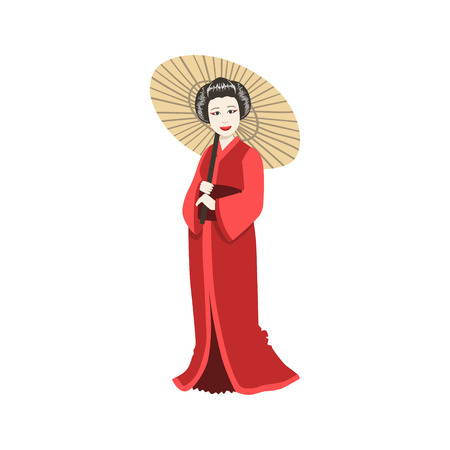 prostitute: Japanese Geisha With Paper Umbrella. Simple Realistic Character On White Background With Traditional Culture Symbols