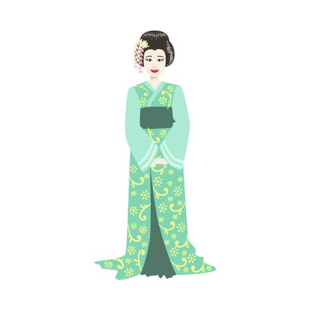 prostituta: Geisha japonesa en kimono turquesa. Carácter realista simple en el fondo blanco con símbolos culturales
