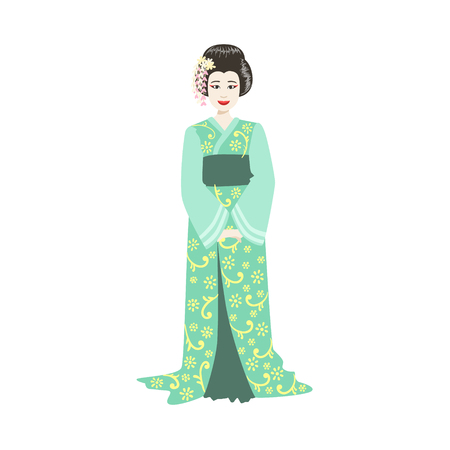 Japanese Geisha In Turquoise Kimono. Simple Realistic Character On White Background With Traditional Culture Symbols