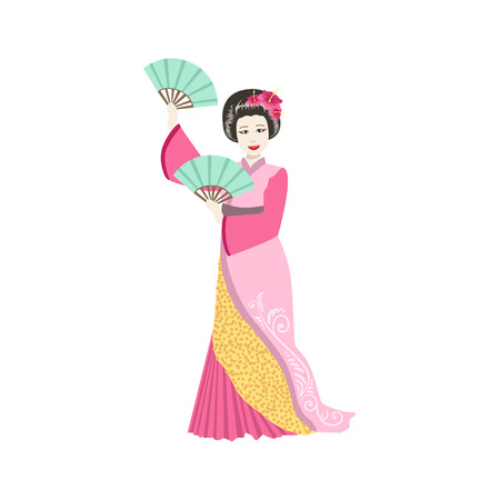 Japanese Geisha With Two Fans. Simple Realistic Character On White Background With Traditional Culture Symbols