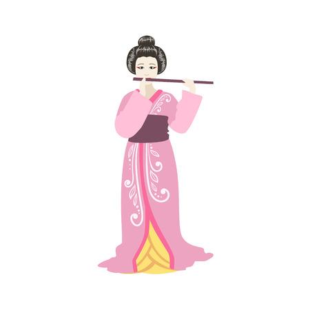 prostituta: De Flauta japonesa del geisha. Carácter realista simple en el fondo blanco con símbolos culturales Vectores