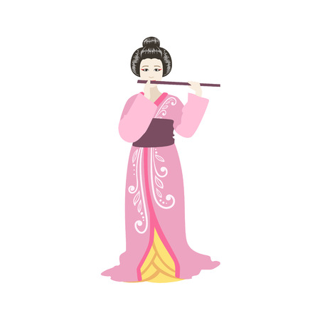 Japanese Geisha Playing Flute. Simple Realistic Character On White Background With Traditional Culture Symbols Illustration