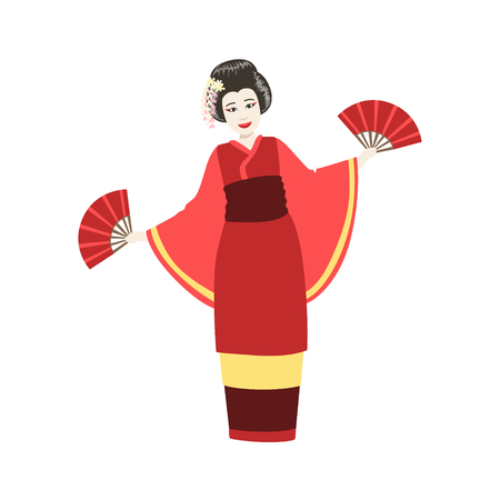 Japanese Geisha Doing Fan Dance. Simple Realistic Character On White Background With Traditional Culture Symbols