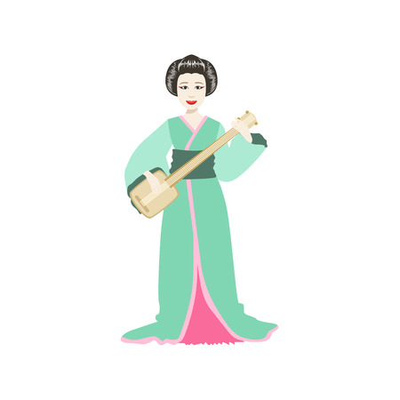 Japanese Geisha Playing Samisen. Simple Realistic Character On White Background With Traditional Culture Symbols