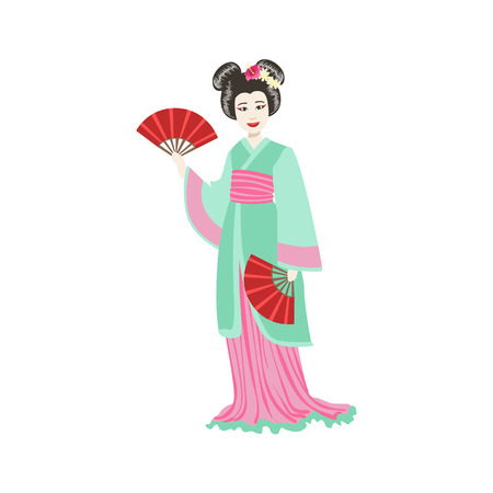 Japanese Geisha With Paper Fans. Simple Realistic Character On White Background With Traditional Culture Symbols