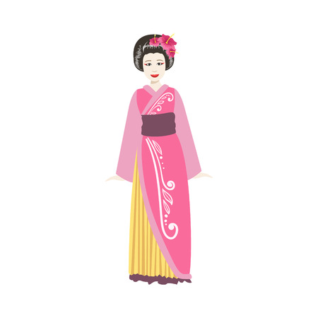 Japanese Geisha In Pink Kimono. Simple Realistic Character On White Background With Traditional Culture Symbols Illustration