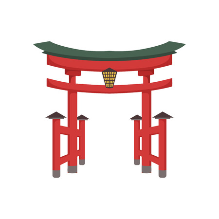 Temple Gate Japanese Culture Symbol. Isolated Object Representing Japan On White Background