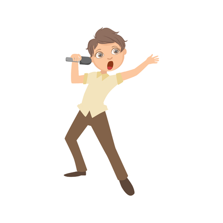 perform: Boy In Classy Outfit Singing In Karaoke. Bright Color Cartoon Simple Style Flat Vector Sticker Isolated On White Background
