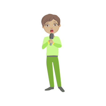 Boy In Green Outfit Singing In Karaoke. Bright Color Cartoon Simple Style Flat Vector Sticker Isolated On White Background Illustration