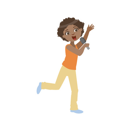 contestant: Boy In Sleeveless Top Singing In Karaoke. Bright Color Cartoon Simple Style Flat Vector Sticker Isolated On White Background