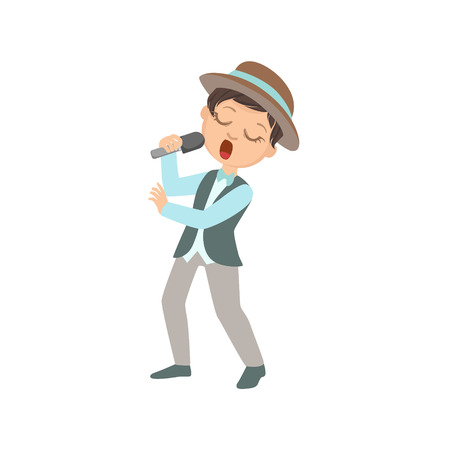 contestant: Boy In Hat Singing In Karaoke. Bright Color Cartoon Simple Style Flat Vector Sticker Isolated On White Background