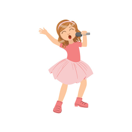 talented: Girl In Pink Outfit Singing In Karaoke. Bright Color Cartoon Simple Style Flat Vector Sticker Isolated On White Background
