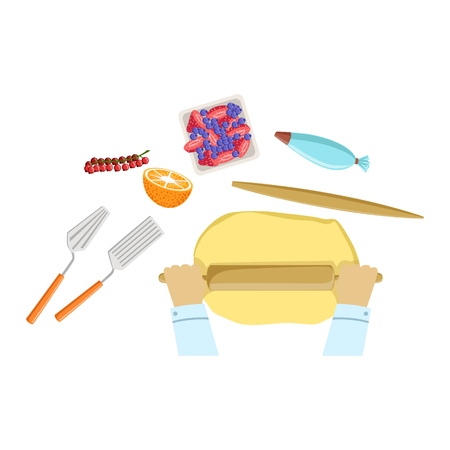 Child Rolling The Dough Illustration With Only Hands Visible From Above. Kids Art And Craft Lesson Colorful Cartoon Cute Vector Picture. Illustration