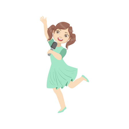 Girl In Blue Dress Singing In Karaoke. Bright Color Cartoon Simple Style Flat Vector Sticker Isolated On White Background